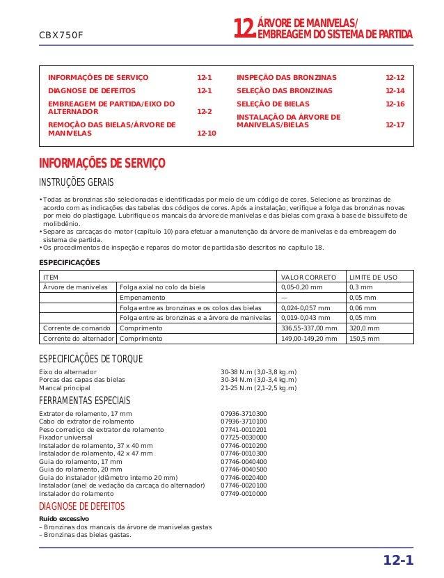 INFORMAÇÕES DE SERVIÇO 12-1 DIAGNOSE DE DEFEITOS 12-1 EMBREAGEM DE PARTIDA/EIXO DO ALTERNADOR 12-2 REMOÇÃO DAS BIELAS/ÁRVO...