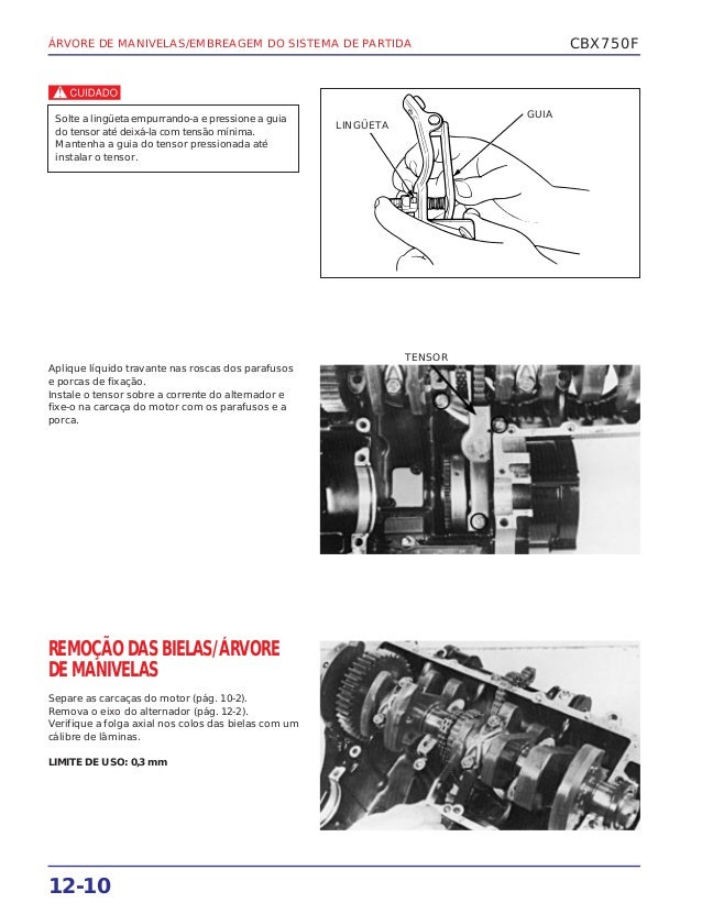 Manual de serviço cbx750 f (1990) manivela