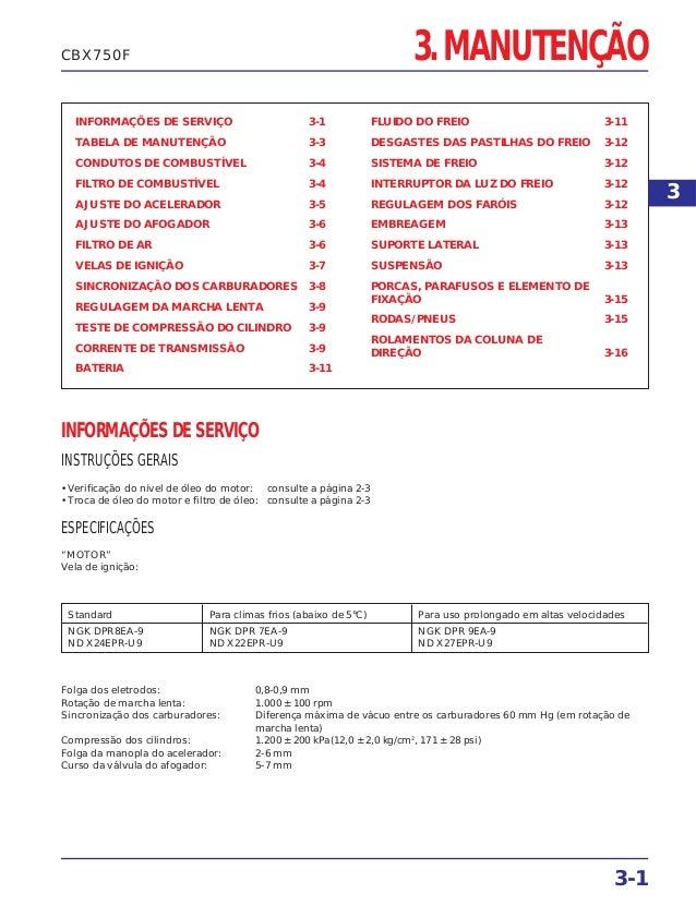 3. MANUTENÇÃO INFORMAÇÕES DE SERVIÇO 3-1 TABELA DE MANUTENÇÃO 3-3 CONDUTOS DE COMBUSTÍVEL 3-4 FILTRO DE COMBUSTÍVEL 3-4 AJ...