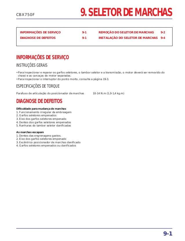 9. SELETOR DE MARCHAS INFORMAÇÕES DE SERVIÇO 9-1 DIAGNOSE DE DEFEITOS 9-1 REMOÇÃO DO SELETOR DE MARCHAS 9-2 INSTALAÇÃO DO ...