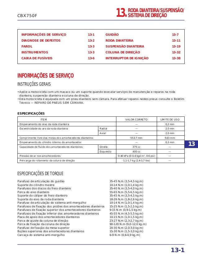 INFORMAÇÕES DE SERVIÇO 13-1 DIAGNOSE DE DEFEITOS 13-2 FAROL 13-3 INSTRUMENTOS 13-3 CAIXA DE FUSÍVEIS 13-6 GUIDÃO 13-7 RODA...