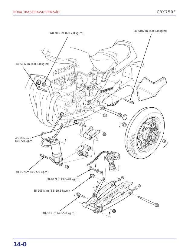 Manual de serviço cbx750 f (1990) rodatras