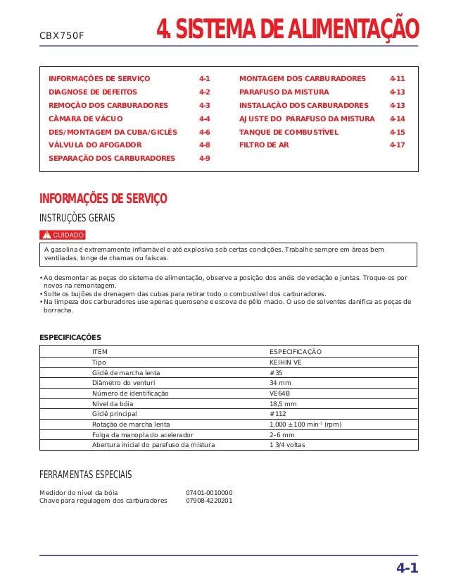 4. SISTEMA DE ALIMENTAÇÃO INFORMAÇÕES DE SERVIÇO 4-1 DIAGNOSE DE DEFEITOS 4-2 REMOÇÃO DOS CARBURADORES 4-3 CÂMARA DE VÁCUO...