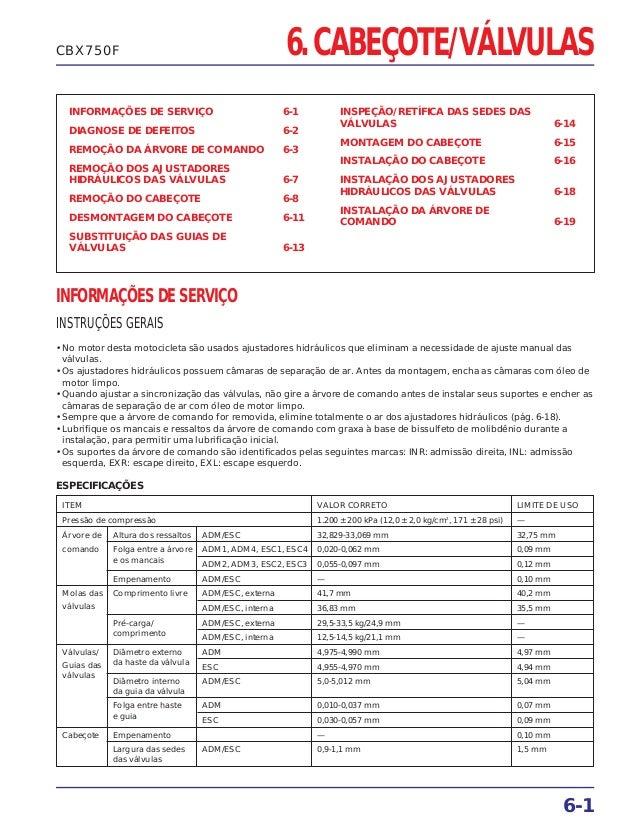 6. CABEÇOTE/VÁLVULAS INFORMAÇÕES DE SERVIÇO 6-1 DIAGNOSE DE DEFEITOS 6-2 REMOÇÃO DA ÁRVORE DE COMANDO 6-3 REMOÇÃO DOS AJUS...