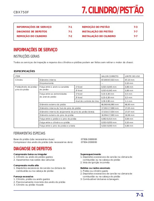 7. CILINDRO/PIST˜ÃO INFORMAÇÕES DE SERVIÇO 7-1 DIAGNOSE DE DEFEITOS 7-1 REMOÇÃO DO CILINDRO 7-2 REMOÇÃO DO PISTÃO 7-3 INST...