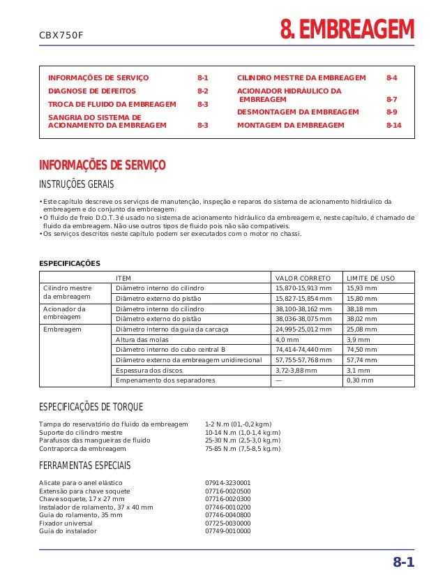 8. EMBREAGEM INFORMAÇÕES DE SERVIÇO 8-1 DIAGNOSE DE DEFEITOS 8-2 TROCA DE FLUIDO DA EMBREAGEM 8-3 SANGRIA DO SISTEMA DE AC...