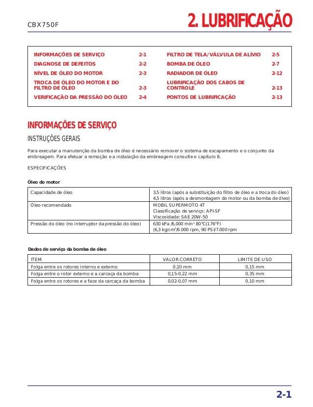 2. LUBRIFICAÇÃO INFORMAÇÕES DE SERVIÇO 2-1 DIAGNOSE DE DEFEITOS 2-2 NÍVEL DE ÓLEO DO MOTOR 2-3 TROCA DE ÓLEO DO MOTOR E DO...