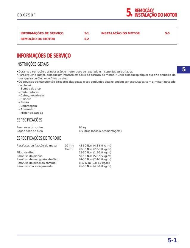 5. REMOÇÃO/ INSTALAÇÃO DO MOTOR INFORMAÇÕES DE SERVIÇO 5-1 REMOÇÃO DO MOTOR 5-2 INSTALAÇÃO DO MOTOR 5-5 INFORMAÇÕES DE SER...
