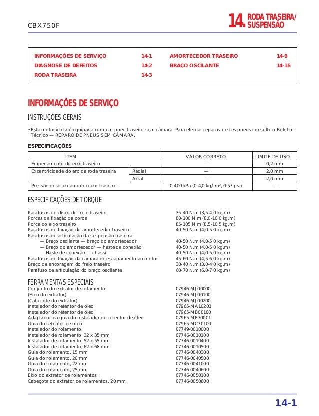 INFORMAÇÕES DE SERVIÇO 14-1 DIAGNOSE DE DEFEITOS 14-2 RODA TRASEIRA 14-3 AMORTECEDOR TRASEIRO 14-9 BRAÇO OSCILANTE 14-16 I...