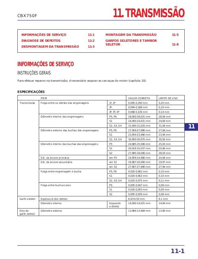 11. TRANSMISSÃO INFORMAÇÕES DE SERVIÇO 11-1 DIAGNOSE DE DEFEITOS 11-2 DESMONTAGEM DA TRANSMISSÃO 11-3 MONTAGEM DA TRANSMIS...