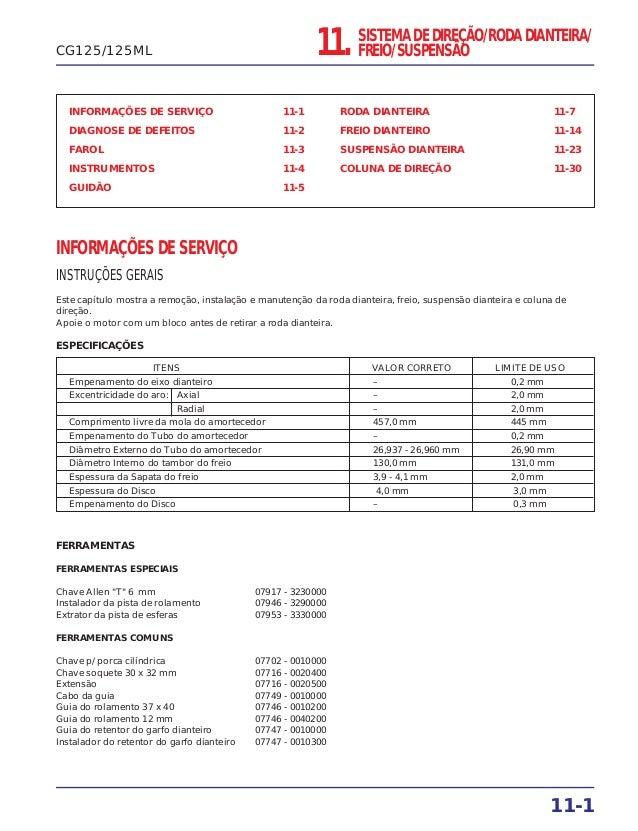 11. SISTEMA DE DIREÇÃO/RODA DIANTEIRA/ FREIO/SUSPENSÃO INFORMAÇÕES DE SERVIÇO 11-1 DIAGNOSE DE DEFEITOS 11-2 FAROL 11-3 IN...