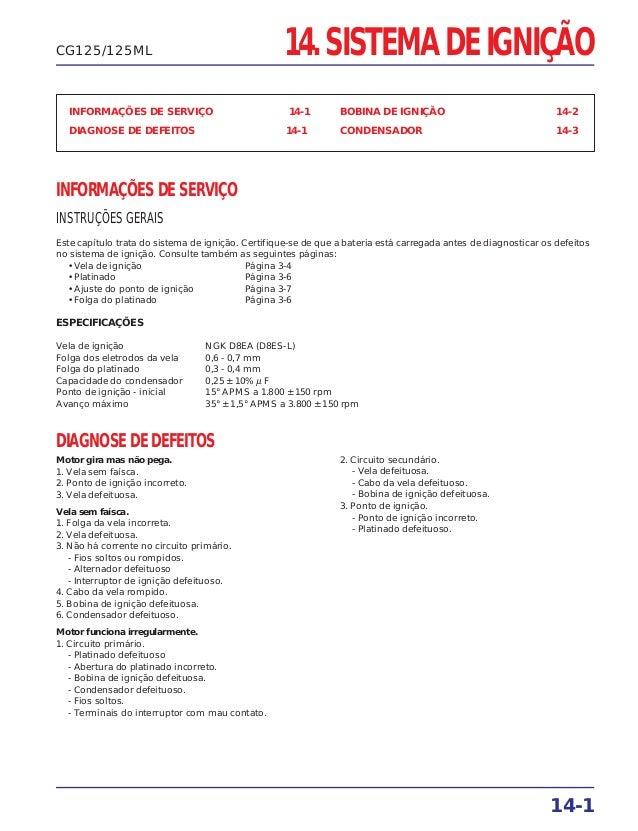 14. SISTEMA DE IGNIÇÃO INFORMAÇÕES DE SERVIÇO 14-1 DIAGNOSE DE DEFEITOS 14-1 BOBINA DE IGNIÇÃO 14-2 CONDENSADOR 14-3 INFOR...
