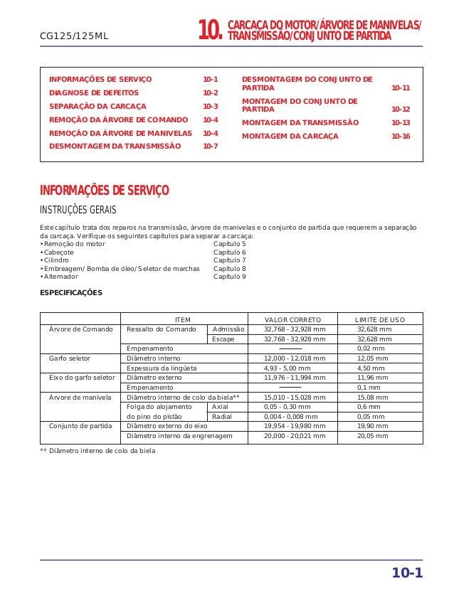 10. CARCAÇA DO MOTOR/ÁRVORE DE MANIVELAS/ TRANSMISSÃO/CONJUNTO DE PARTIDA INFORMAÇÕES DE SERVIÇO 10-1 DIAGNOSE DE DEFEITOS...