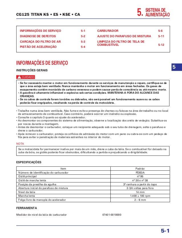 5. SISTEMA DE ALIMENTAÇÃO INFORMAÇÕES DE SERVIÇO 5-1 DIAGNOSE DE DEFEITOS 5-2 CARCAÇA DO FILTRO DE AR 5-3 PISTÃO DE ACELER...