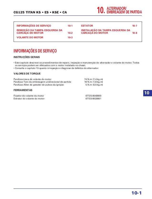 ALTERNADOR/ EMBREAGEM DE PARTIDA10. INFORMAÇÕES DE SERVIÇO 10-1 REMOÇÃO DA TAMPA ESQUERDA DA CARCAÇA DO MOTOR 10-2 VOLANTE...