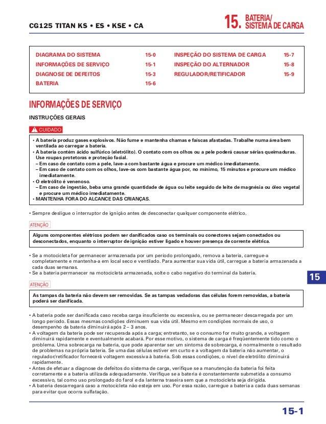 BATERIA/ SISTEMA DE CARGA15. DIAGRAMA DO SISTEMA 15-0 INFORMAÇÕES DE SERVIÇO 15-1 DIAGNOSE DE DEFEITOS 15-3 BATERIA 15-6 I...