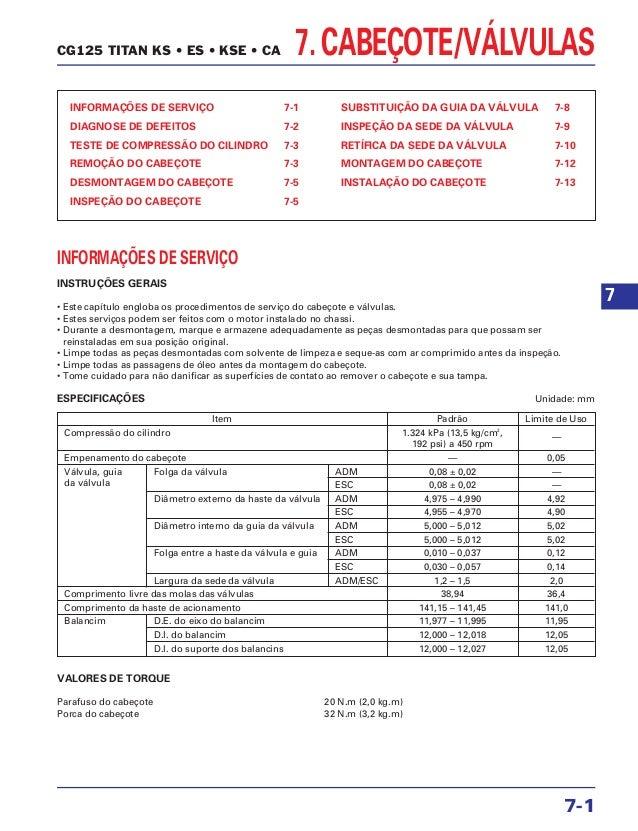 7. CABEÇOTE/VÁLVULAS INFORMAÇÕES DE SERVIÇO 7-1 DIAGNOSE DE DEFEITOS 7-2 TESTE DE COMPRESSÃO DO CILINDRO 7-3 REMOÇÃO DO CA...