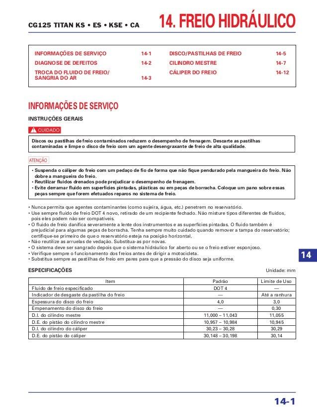 14. FREIO HIDRÁULICO INFORMAÇÕES DE SERVIÇO 14-1 DIAGNOSE DE DEFEITOS 14-2 TROCA DO FLUIDO DE FREIO/ SANGRIA DO AR 14-3 DI...