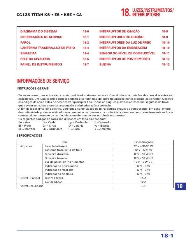 LUZES/INSTRUMENTOS/ INTERRUPTORES18. DIAGRAMA DO SISTEMA 18-0 INFORMAÇÕES DE SERVIÇO 18-1 FAROL 18-2 LANTERNA TRASEIRA/LUZ...