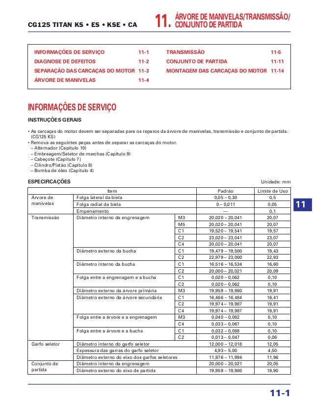11. ÁRVORE DE MANIVELAS/TRANSMISSÃO/ CONJUNTO DE PARTIDA INFORMAÇÕES DE SERVIÇO 11-1 DIAGNOSE DE DEFEITOS 11-2 SEPARAÇÃO D...