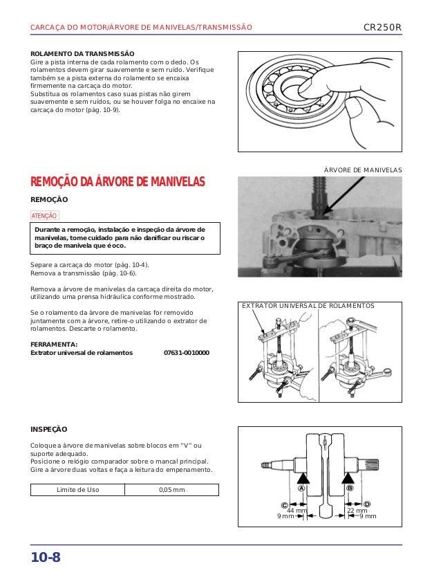 Manual de serviço cr250 00 carcaca