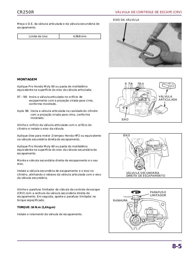 Manual de serviço cr250 99 valvula
