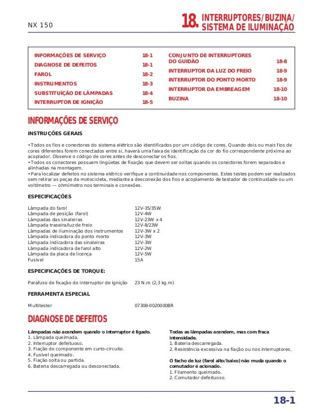 18. INTERRUPTORES/BUZINA/ SISTEMA DE ILUMINAÇÃO 18-1 NX 150 INFORMAÇÕES DE SERVIÇO 18-1 DIAGNOSE DE DEFEITOS 18-1 FAROL 18...