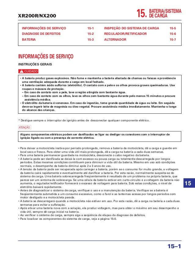 XR200R/NX200 15. INFORMAÇÕES DE SERVIÇO 15-1 DIAGNOSE DE DEFEITOS 15-2 BATERIA 15-3 INSPEÇÃO DO SISTEMA DE CARGA 15-5 REGU...