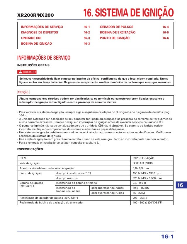 INFORMAÇÕES DE SERVIÇO 16-1 DIAGNOSE DE DEFEITOS 16-2 UNIDADE CDI 16-3 BOBINA DE IGNIÇÃO 16-3 GERADOR DE PULSOS 16-4 BOBIN...