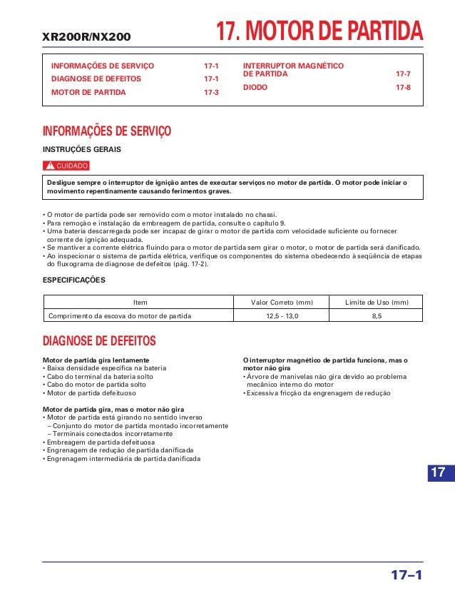 XR200R/NX200 17. MOTOR DE PARTIDA INFORMAÇÕES DE SERVIÇO 17-1 DIAGNOSE DE DEFEITOS 17-1 MOTOR DE PARTIDA 17-3 INTERRUPTOR ...