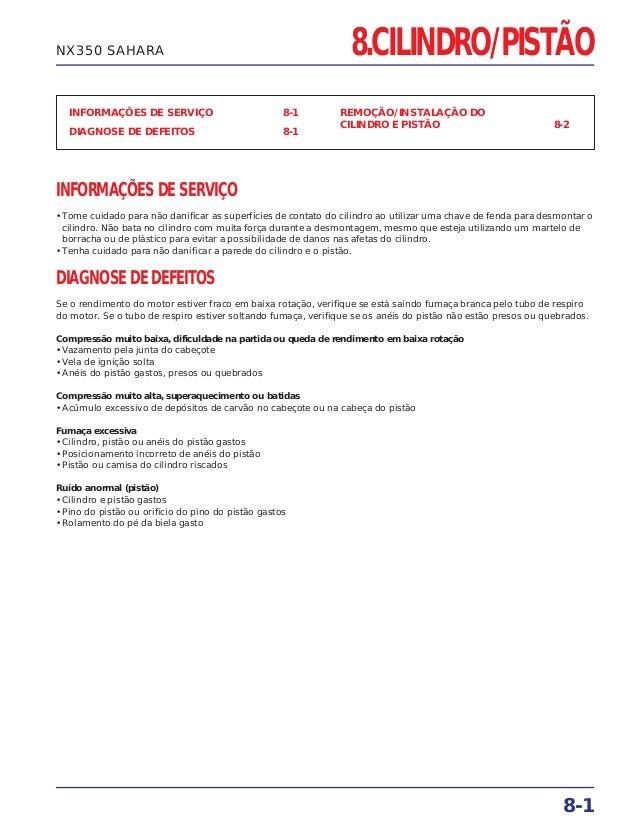 INFORMAÇÕES DE SERVIÇO 8-1 DIAGNOSE DE DEFEITOS 8-1 REMOÇÃO/INSTALAÇÃO DO CILINDRO E PISTÃO 8-2 8-1 NX350 SAHARA INFORMAÇÕ...