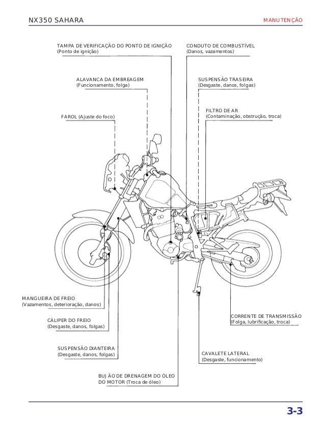 Manual de serviço nx350 sahara 00 x6b-kas-602 manutenc