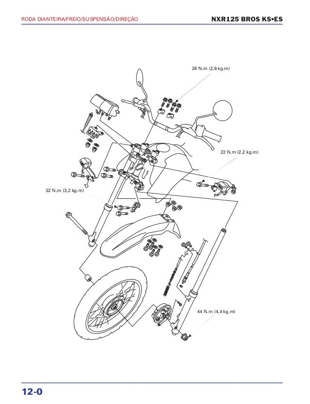 Manual de serviço nxr125 bros ks es 00 x6b-ksm-001 roda-diant