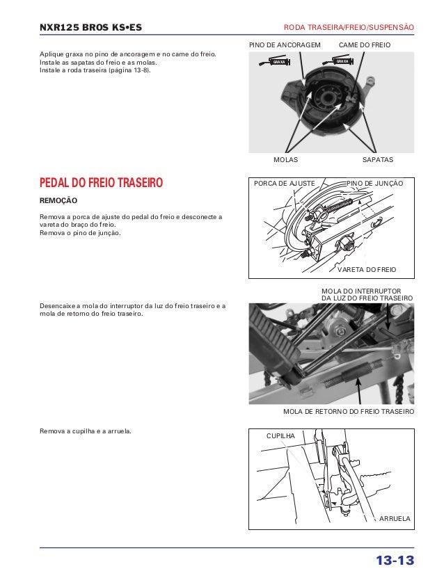Manual de serviço nxr125 bros ks es 00 x6b-ksm-001 roda-tras