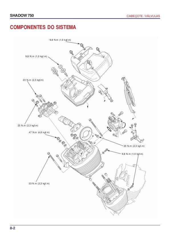 Manual de serviço shadow 750 00 x6b-meg-001 cabecote-valvulas