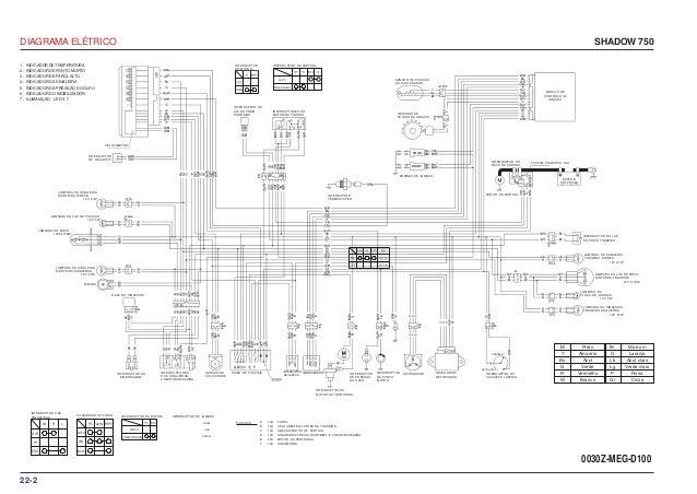 Manual de serviço shadow 750 00 x6b-meg-001 diagrama-eletrico