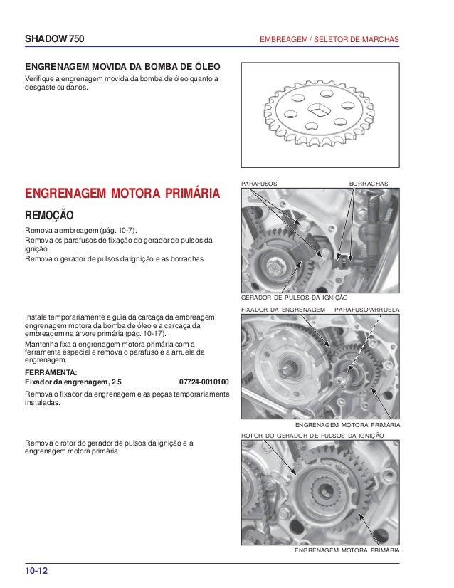 Manual de serviço shadow 750 00 x6b-meg-001 embreagem