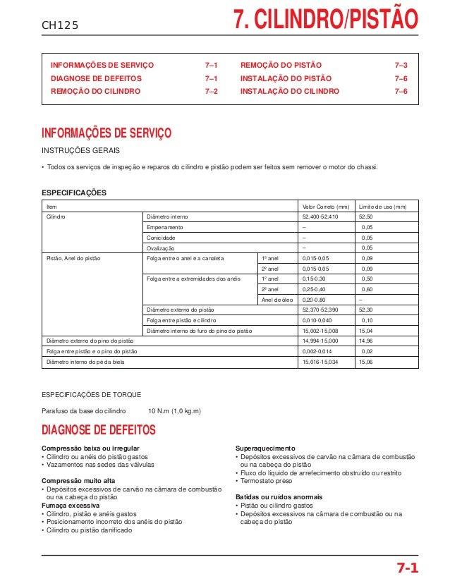 CH125 7. CILINDRO/PISTÃO ESPECIFICAÇÕES 7-1 INFORMAÇÕES DE SERVIÇO 7–1 DIAGNOSE DE DEFEITOS 7–1 REMOÇÃO DO CILINDRO 7–2 RE...