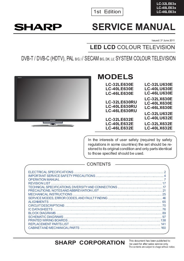 manual de servi o tv sharp led lcd diversos modelos linha lc. Black Bedroom Furniture Sets. Home Design Ideas