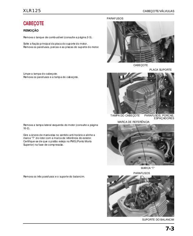Manual de serviço xlr125 00 x6b-kfc-601 cabecote