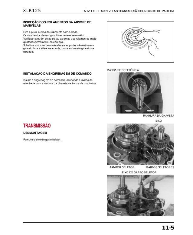 Manual de serviço xlr125 00 x6b-kfc-601 manivela