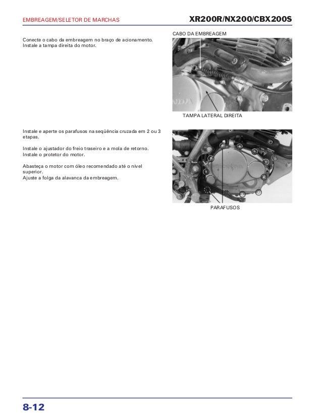 Manual de serviço xr200 r nx200 cbx200s mskbb931p embreage