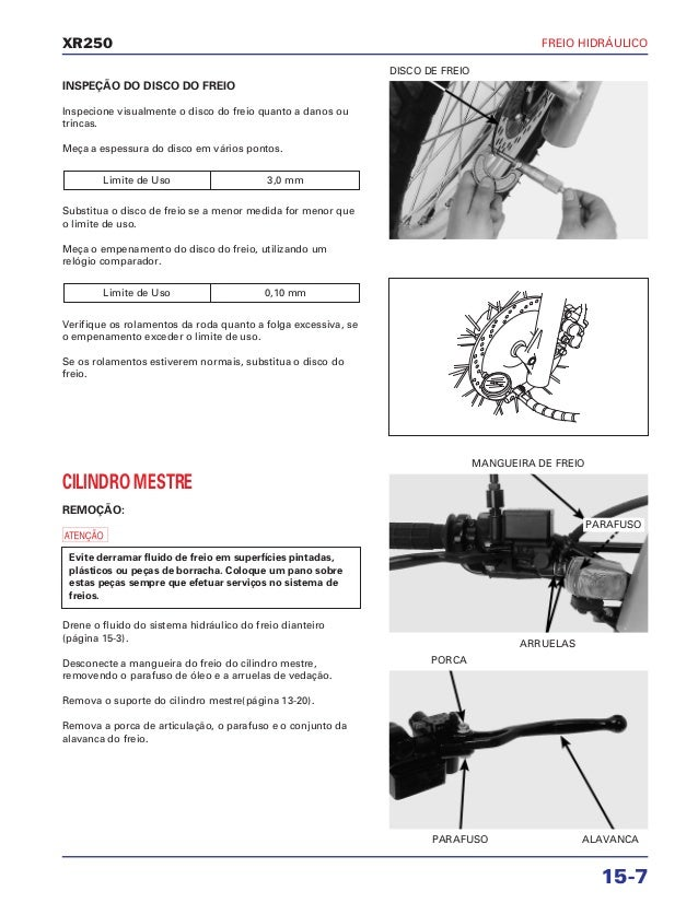 Manual de serviço xr250 freio hidraulico