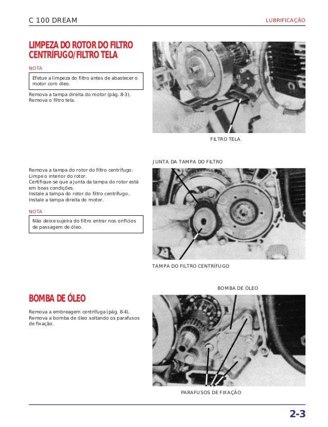 LUBRIFICAÇÃO 2-3 C 100 DREAM LIMPEZA DO ROTOR DO FILTRO CENTRÍFUGO/FILTRO TELA NOTA Remova a tampa direita do motor (pág. ...