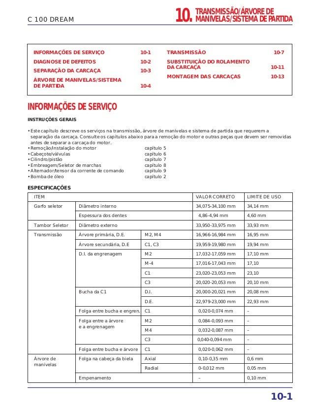 ITEM VALOR CORRETO LIMITE DE USO Garfo seletor Diâmetro interno 34,075-34,100 mm 34,14 mm Espessura dos dentes 4,86-4,94 m...