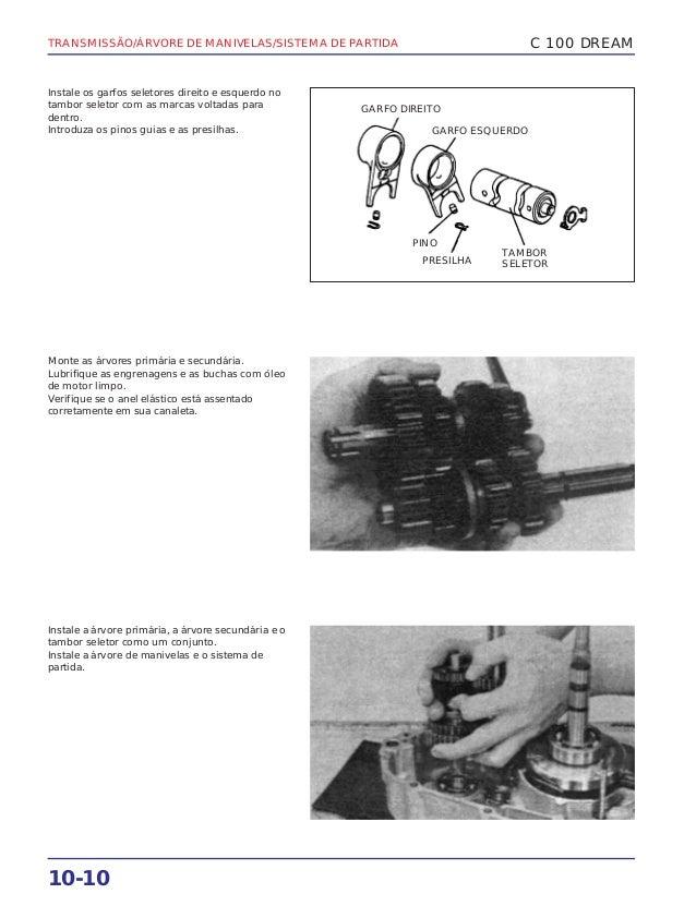TRANSMISSÃO/ÁRVORE DE MANIVELAS/SISTEMA DE PARTIDA 10-10 Instale os garfos seletores direito e esquerdo no tambor seletor ...