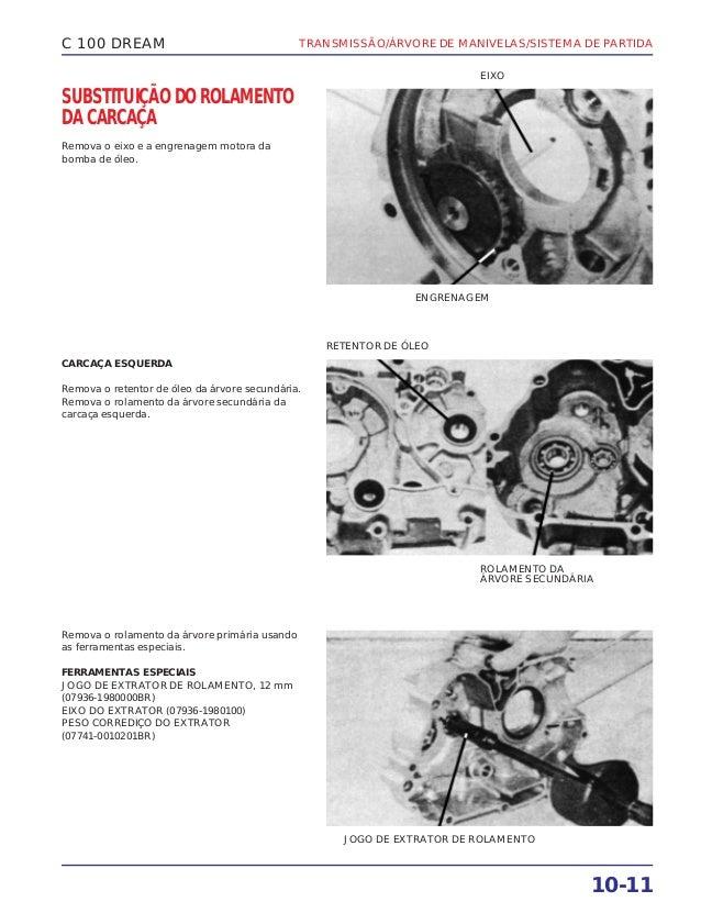 TRANSMISSÃO/ÁRVORE DE MANIVELAS/SISTEMA DE PARTIDA 10-11 C 100 DREAM SUBSTITUIÇÃO DO ROLAMENTO DA CARCAÇA Remova o eixo e ...