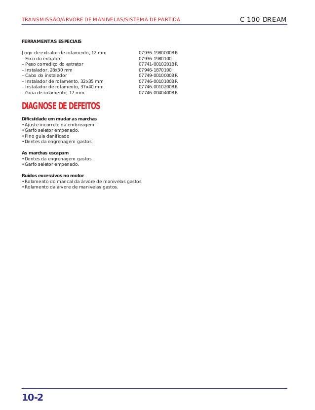 TRANSMISSÃO/ÁRVORE DE MANIVELAS/SISTEMA DE PARTIDA 10-2 C 100 DREAM FERRAMENTAS ESPECIAIS Jogo de extrator de rolamento, 1...