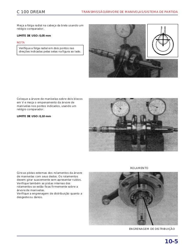 TRANSMISSÃO/ÁRVORE DE MANIVELAS/SISTEMA DE PARTIDA 10-5 C 100 DREAM Meça a folga radial na cabeça da biela usando um relóg...