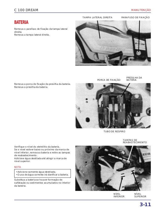 MANUTENÇÃO 3-11 C 100 DREAM BATERIA Remova o parafuso de fixação da tampa lateral direita. Remova a tampa lateral direita....